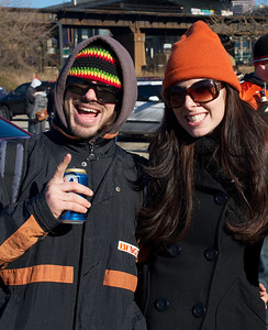 Nick and Lindsey Spatola of Cincinnati at Longworth hall tailgating before the Bengals game