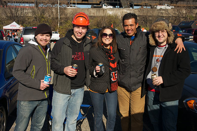 Casey of Oxford, Aaron from Clifton, Tara of Columbia Tusculum, William from Hyde Park and Adam of Hilliard at Longworth hall tailgating before the Bengals game