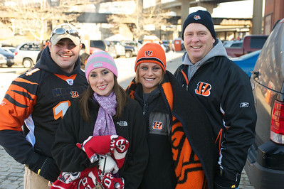 Ricky, Amanda, Abbie and Rick Cornelius of Bridgetown, OH at Longworth hall tailgating before the Bengals game
