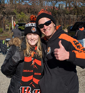 Michelle Lewis and Nathan Brackett from Huber Heights at Longworth hall tailgating before the Bengals game