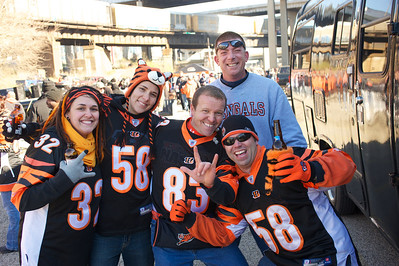 Julia Fichelberger and Megan Burkhard of Maryland, Steve Unger of Ft Mitchell, KY, Jeff Schulkers and Mark Wilver of NKY at Longworth hall tailgating before the Bengals game