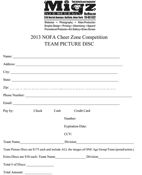 Team Picture Disc Order Form
