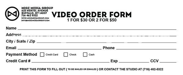 Video Order Form  Migz Photography Migz Media Group