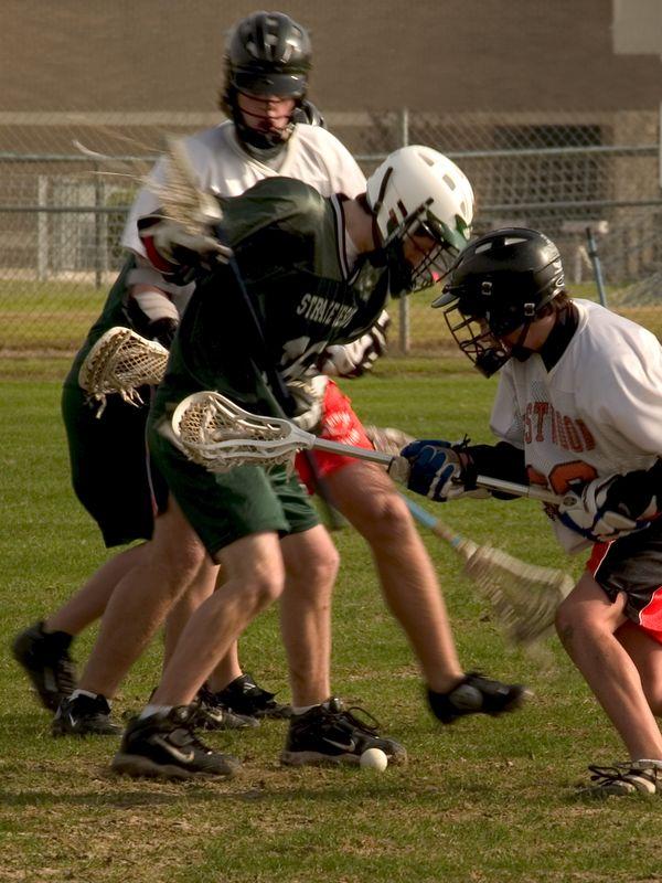 Ryan Beauchamp, attack and Max Heath, defense,  go after ground ball.