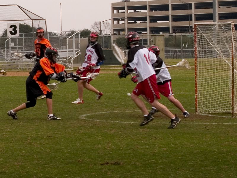 """Nathan Ostrout, midfield, demonstrates his """"quick-stick"""" skills."""