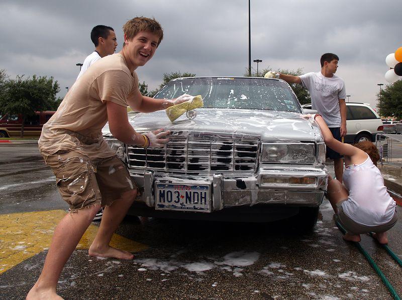Down at the car wash.