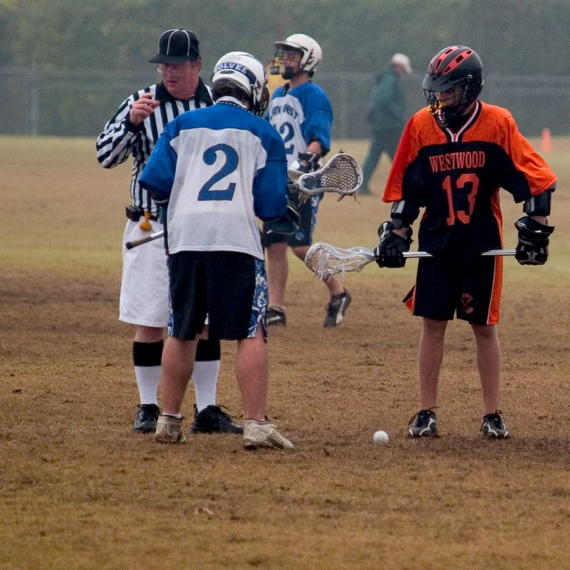 Nathan Ostrout readies for next face-off.