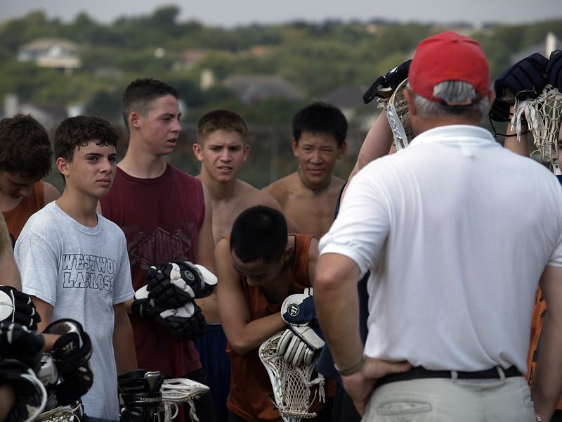 Colonel Sowada motivating the troops after a hard workout, Lacrosse Practice, Westwood 2004.