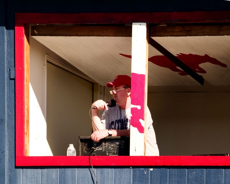 Colonel Joe Perkins, Canyon Vista liaison, lends his colorful commentary to the UT/Westwood scrimmage on Saturday afternoon.