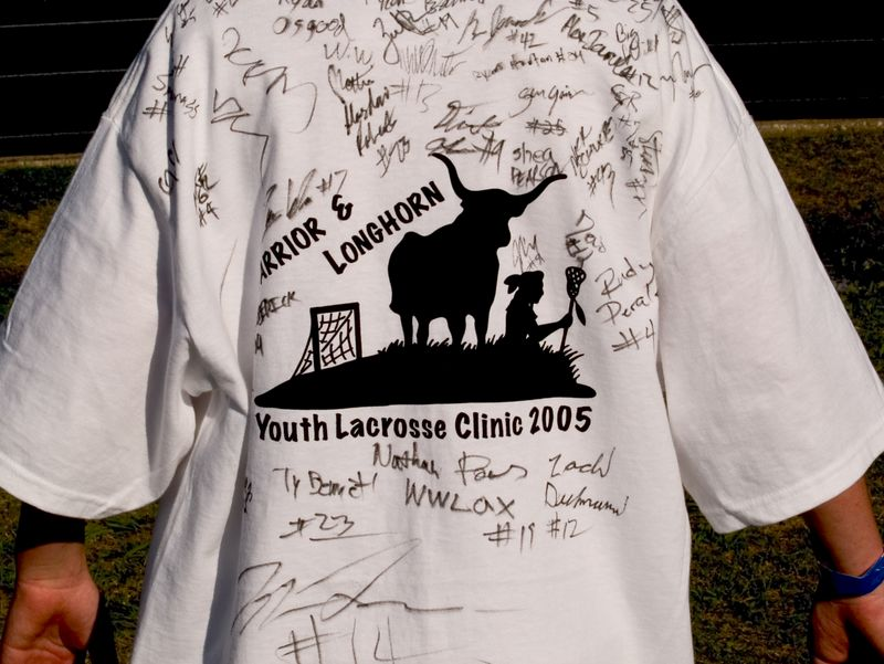 Participants had their clinic t-shirts signed by University of Texas and Westwood Warrior players.