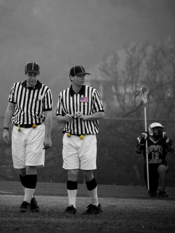 Lacrosse referees, US flag.
