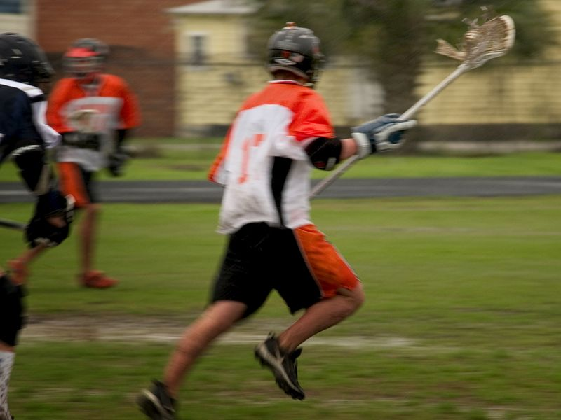 David Gautier runs down field after a hard fought ground ball.
