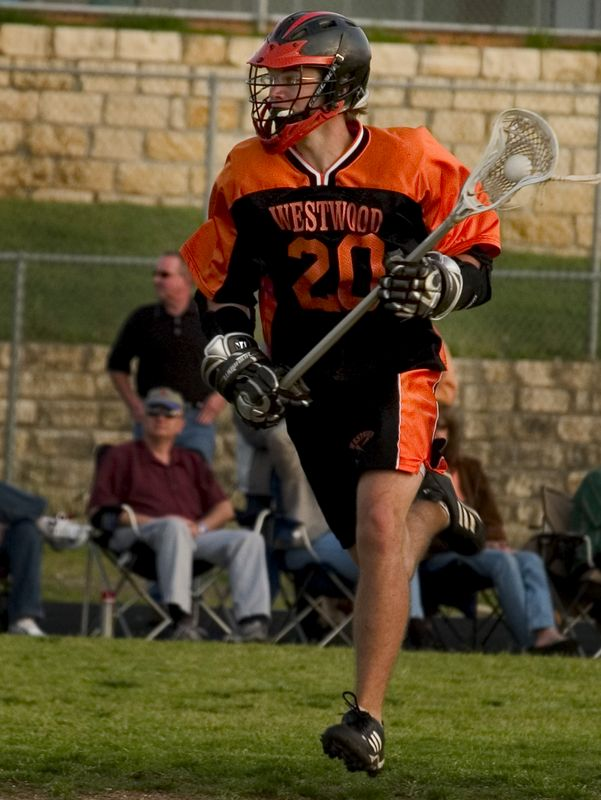 Brendan Murphy (junior middie) drives up the field looking for an open pass.