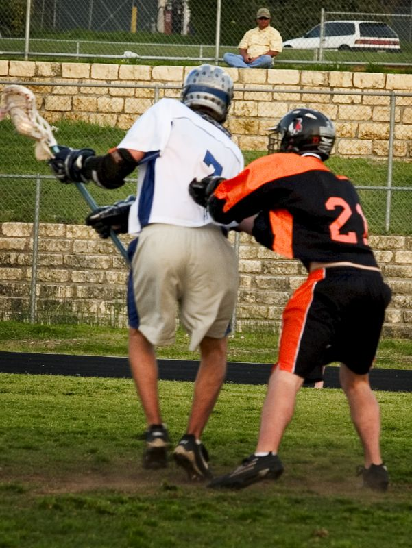 Trevor Brown (middie) playing some tight defense.