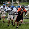 Gavin Rogus (senior defense) moves the ball upfield.