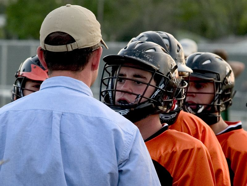 WIll Anderson and Coach Maggio have a talk before the game.