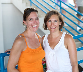 Lisa Megowen and Kim Tepe of Terrace Park at the tennis tournament in Mason on Aug 16, 2009