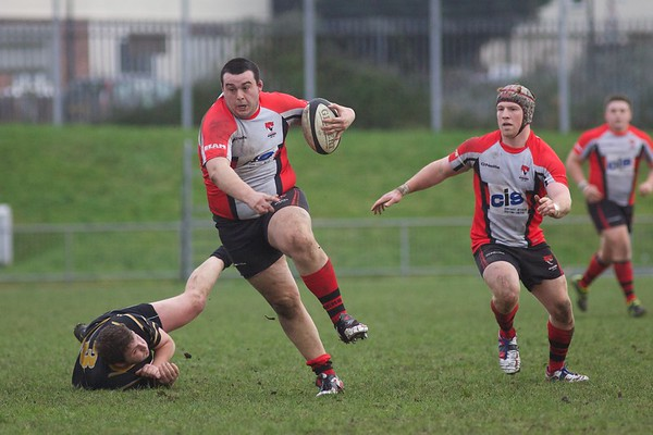 Nathan Giley Seymour avoids a tackle during Cheltenham Rugby victory against Marlow 16th January 2013