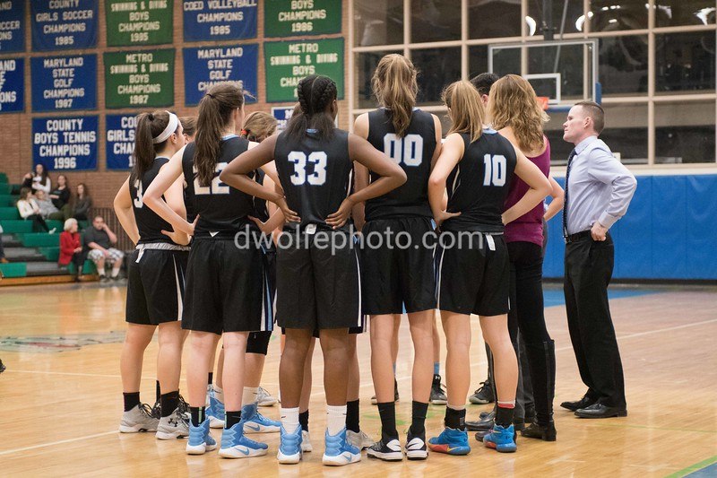 The Whitman team during a time out.