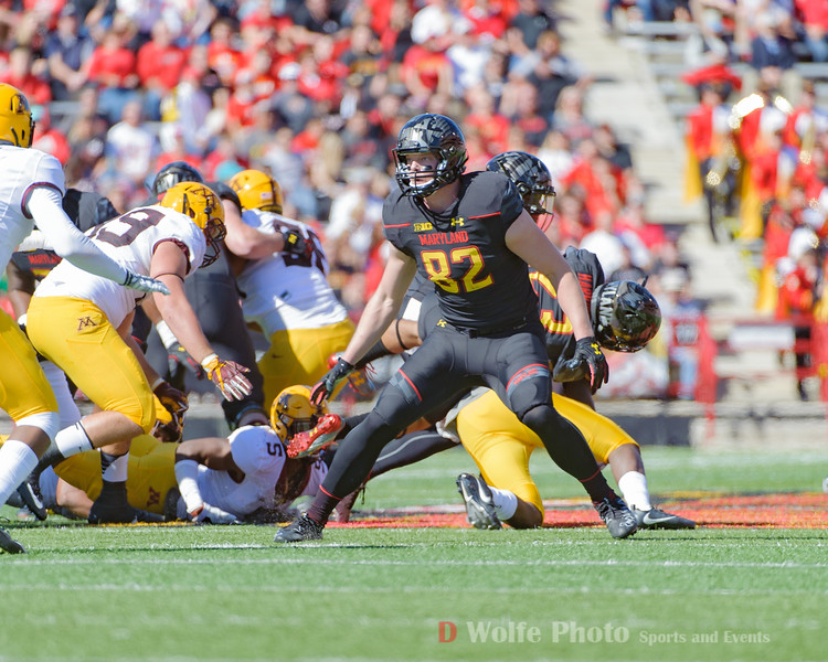 Tightend Maryland sophomore Averyt Edwards protects his quarterback.