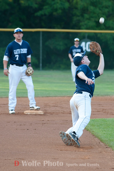 Jay Graham the third baseman for the Gaithersburg Giants makes body sacraficing play to cath a short pop fly.