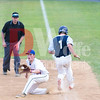 Gaithersburg Giant outfielder Tate Shaw from Austin, Texas just makes it to first base safelyu.