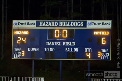 The final score of the title game recreated on the Bulldog's home scoreboard