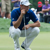 Gary Woodland is sizing up his put on the 9th green in the 4th round.  Gary finished at -2, tied with 5 others for 16th overall.