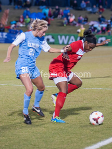 Danesha Adams gets between the sideline and UNC Forward  Adelaide Gay to win the ball back.
