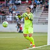Western New York Flash keeper Sabrina D'Angelo tracking the shot on goal to snag it before it becomes a point for the Spirit.
