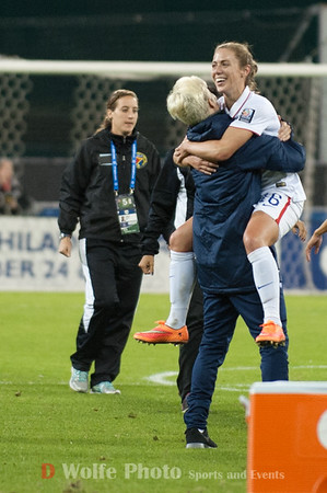 megan Rapinoe  (15) grabs up Meghan Klingenberg (16) in celebration of 6 to nill win over Haiti.aa