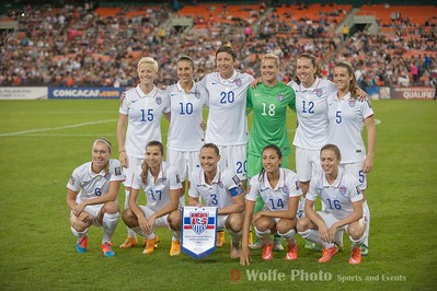 The starting lineup for the UWNT in the World Cup Qualification match against Haiti.  Back Row: Megan Rapinoe, Carli Lloyd, Abby Wambach, Ashlyn Harris, Lauren Holiday, Kelley O'Hara.  Front Row: Whitney Engen, Megan Klingenberg, Christie Rampone, Christen Press, Meghan Klingenberg.