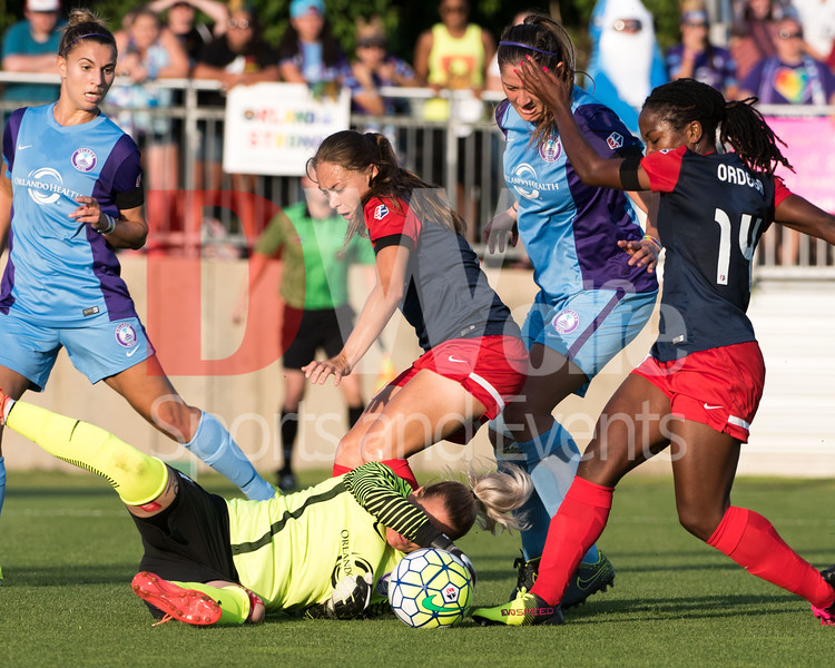 Possible wreckless and potentially dangerous move by Spirit forward Francisca Ordega getting the ball out of Pride keeper Ashlyn Harris's control without touching Harris.