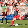 Washington Spirit midfielder CHristine Nairn taking a free kick at the circle.