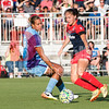 Spirit midfielder Estefania Banini snakes the ball past Orlando Pride defender Toni Pressley<br /> Toni Pressley,