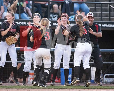 The Chopticon team celebrates as the announcer names off the lineup for the Maryland 4A Championship against Sherwood High School.