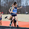 "In one of the more exciting heat finishes of the day, Clarksburg's ""A"" relay anchor, Lily Lippert over takes Walter Johnson's relay team at the finish line to  secure second place overall in the girls Swedish Relay (SMR).   9th Annual Screaming Eagles Invitational.  Photos by David Wolfe ©"