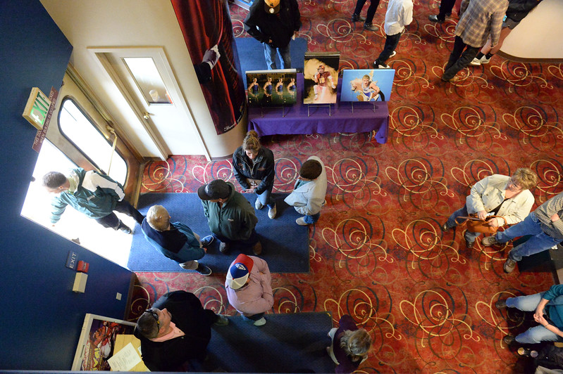 Justin Sheely | The Sheridan Press<br /> Guests enter the lobby during The Sheridan Press' inaugural Sports Awards Ceremony Tuesday at the WYO Theater. The event recognized athletes and their achievements from high schools and the community college in Sheridan County.