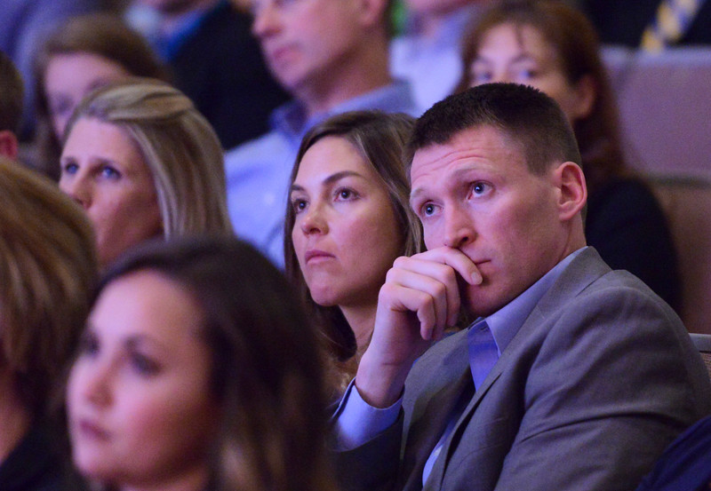 Justin Sheely | The Sheridan Press<br /> Sheridan College coaches Mallery Marshall, left, and Matt Hammer listen to the keynote speaker during The Sheridan Press' inaugural Sports Awards Ceremony Tuesday at the WYO Theater. The event recognized athletes and their achievements from high schools and the community college in Sheridan County.