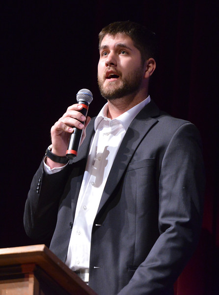 Justin Sheely | The Sheridan Press<br /> Keynote speaker, Tongue River High School, Black Hills State University alum Rob Johnson speaks during The Sheridan Press' inaugural Sports Awards Ceremony Tuesday at the WYO Theater. The event recognized athletes and their achievements from high schools and the community college in Sheridan County.