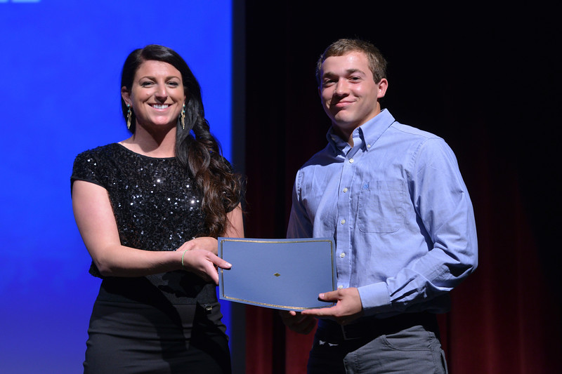 Justin Sheely   The Sheridan Press<br /> Sheridan High School athlete Coy Steel is announced winner for the football category during The Sheridan Press' inaugural Sports Awards Ceremony Saturday at the WYO Theater.