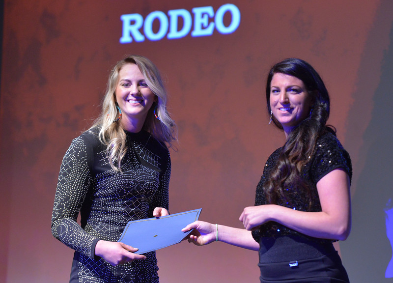 Justin Sheely   The Sheridan Press<br /> Sheridan College women's rodeo athlete LaTasha Weiferich is announced winner for the Women's Rodeo category during The Sheridan Press' inaugural Sports Awards Ceremony Saturday at the WYO Theater.