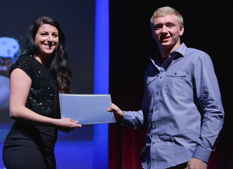 Justin Sheely   The Sheridan Press<br />  Sheridan High School athlete Hayden Hastings is the winner of the wrestling category during The Sheridan Press' inaugural Sports Awards Ceremony Saturday at the WYO Theater.