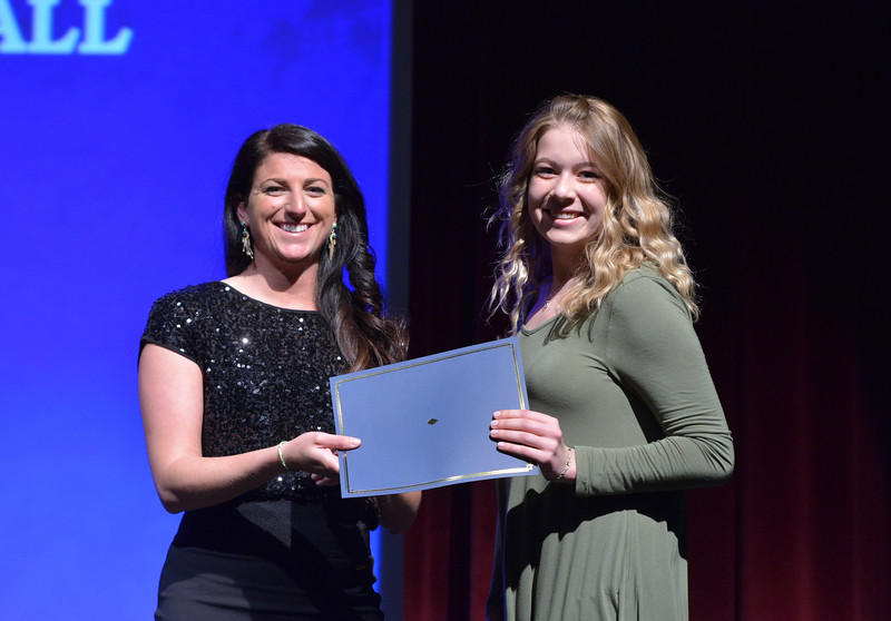 Justin Sheely   The Sheridan Press<br /> Tongue River High School athlete Neci Sundquist is announced winner for the volleyball category during The Sheridan Press' inaugural Sports Awards Ceremony Saturday at the WYO Theater.