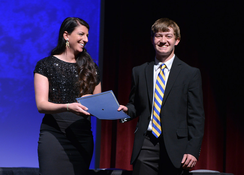 Justin Sheely   The Sheridan Press<br /> Sheridan High School athlete Kirby Coe-Kirkham is announced winner for the boys golf category during The Sheridan Press' inaugural Sports Awards Ceremony Saturday at the WYO Theater.