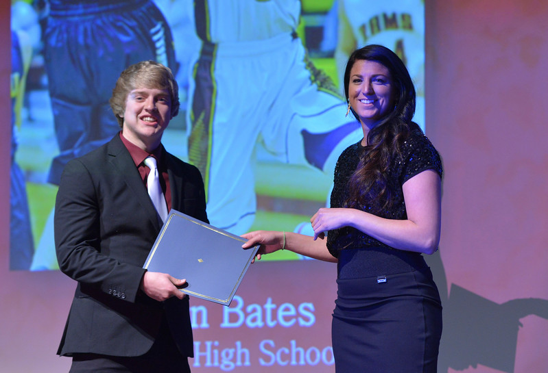 Justin Sheely   The Sheridan Press<br /> Big Horn High School athlete Colton Bates is announced winner for the boys basketball category during The Sheridan Press' inaugural Sports Awards Ceremony Saturday at the WYO Theater.