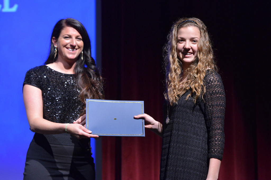 Justin Sheely   The Sheridan Press<br /> Arvada-Clearmont High School athlete McKenna Auzqui is announced winner for the girls basketball category during The Sheridan Press' inaugural Sports Awards Ceremony Saturday at the WYO Theater.