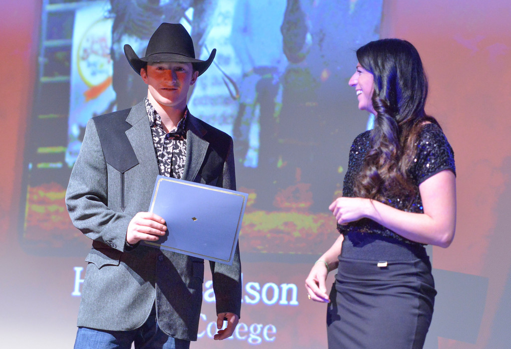 Justin Sheely   The Sheridan Press<br /> Sheridan College men's rodeo athlete Hunter Carlson is announced winner for the Men's Rodeo category during The Sheridan Press' inaugural Sports Awards Ceremony Saturday at the WYO Theater.