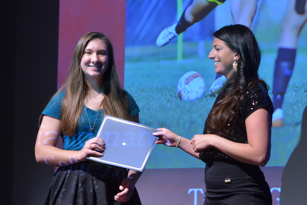 Justin Sheely   The Sheridan Press<br /> Sheridan College athlete Teresa Giandonato is announced winner for girls soccer category during The Sheridan Press' inaugural Sports Awards Ceremony Saturday at the WYO Theater.