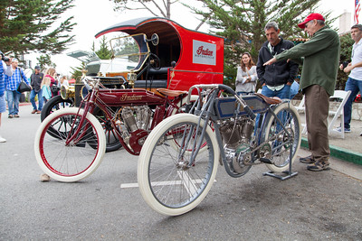 Vintage Indian and Harley-Davidson motorbikes